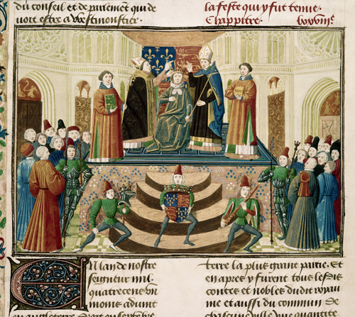 Coronation of Henry IV © British Library Board. From Chroniques, Vol. IV, part 2 by Jean Froissart c.1471. Made available under Creative Commons CC0 1.0 Universal Public Domain Dedication