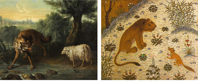 Paintings: the wolf and the lamb; and the lion and the jackal