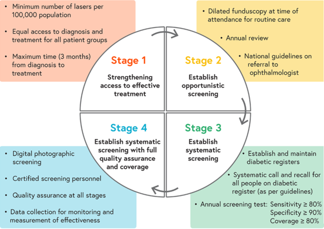 Illustration of the 4 stages of setting up screening