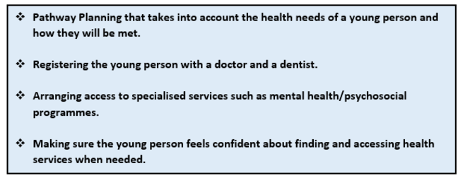 Health and Wellbeing: this graphic is a list of points. 1 Pathway Planning that takes into account the health needs of a young person and how they will be met. 2 Registering the young person with a doctor and a dentist. 3 Arranging access to specialised services such as mental health/psychosocial programmes. 4 Making sure the young person feels confident about finding and accessing health services when needed