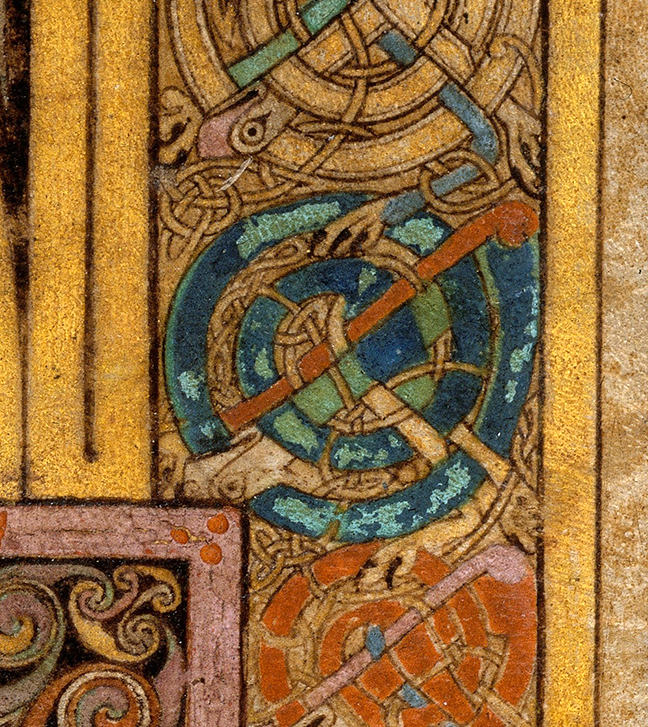 Figure 3, from the Book of Kells, a design that has partially flaked away