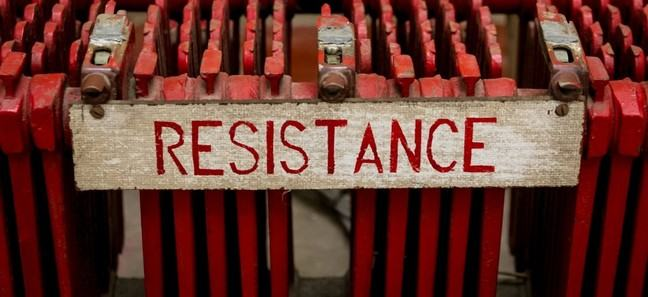 image of a sign with 'resistance' written on it