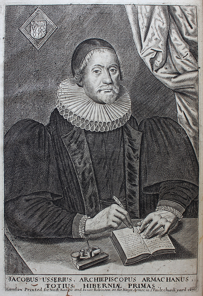 Portrait of James Ussher, Archbishop of Armagh, writing in a note-book: Richard Parr, *The life of the Most Reverend Father in God, James Usher, late Lord Arch-Bishop of Armagh, primate and metropolitan of all Ireland* (London, 1686), frontispiece. © The Trustees of the Edward Worth Library, Dublin