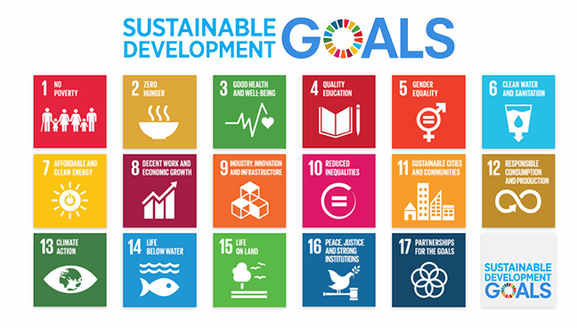 Image of the 17 UN SUstainable Development goals with sytlised icons numbered 1 through to seventeen