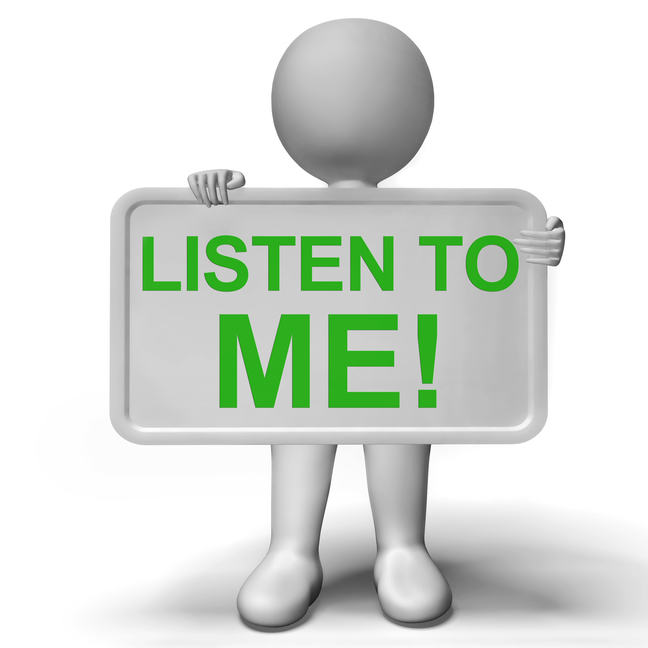 "Illustration of a person holding a sign saying ""Listen to me!"""