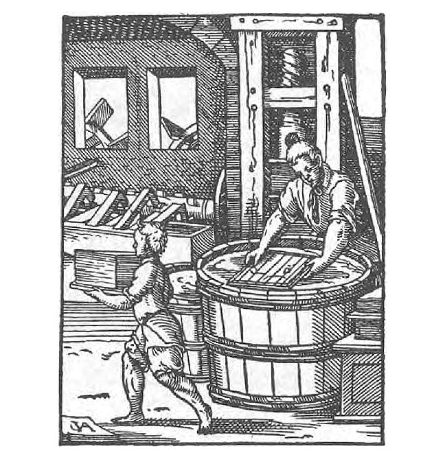 A black and white image of a Paper Maker in Jost Amman, *Das Ständebuch* (Frankfurt am Main, 1568)