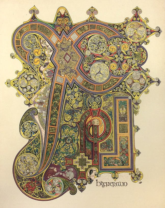 Figure 1 - Lithograph by Margaret Stokes of Book of Kells folio 34r