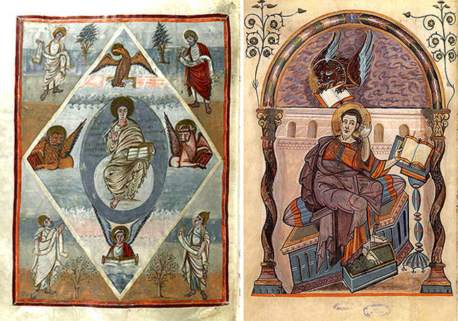 Fig 5-6, depiction of Jesus Christ with the evangelists from the Moutier-Grandval Bible and a portrait of St. Mark from the Codex Aureus of Lorsch, respectively