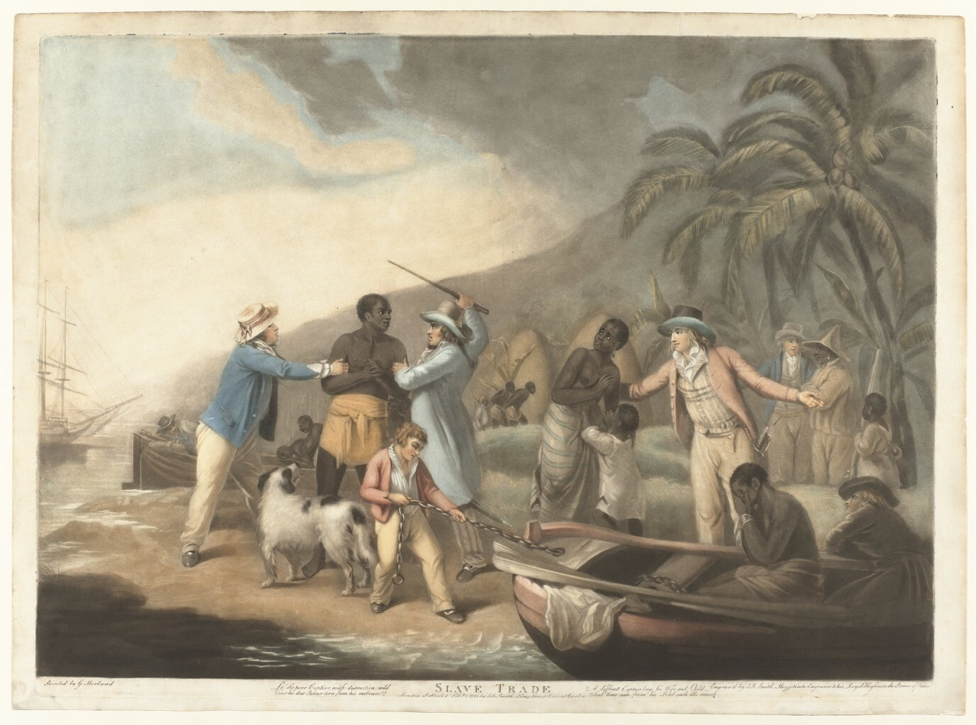 Scene on the West African coast. On the left, two European men hit an African man. On the right, another European man takes his wife and child. On the right, a rowboat is hauled in in which an enslaved man holds his hands over his face.