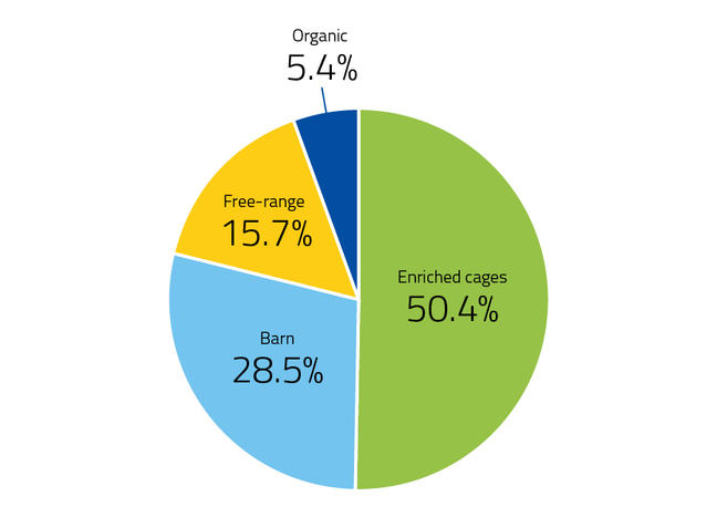 Pie chart of egg production systems: EU (2018), split into four sections: 15.7% Free-range, 5.4% organic, 50.4% enriched cages, 28.5% barn.