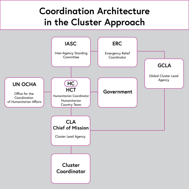 Diagram of the coordination architecture in the cluster approach. The Inter-Agency Standing Committee (IASC) and the Emergency Relief Coordinator (ERC) are at the top and oversee the humanitarian coordinator and Humanitarian Country Team (HCT). The United Nations Office for the Coordination of Humanitarian Affairs (UN OCHA), and government act alongside the HCT at this level. Below them is the Cluster Lead Agency (CLA) Chief of Mission, who is also overseen by the Global Cluster Lead Agency (GCLA). The CLA oversees and directs the Cluster Coordinator.