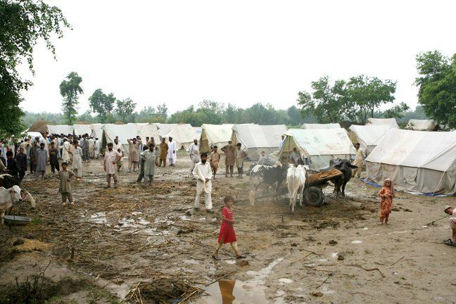 Photograph of IDP camp in Lunda village in the Charsadda region of Pakistan, following the 2010 floods