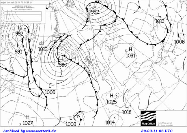 Black and white weather map from the end of September/Beginning of October 2011