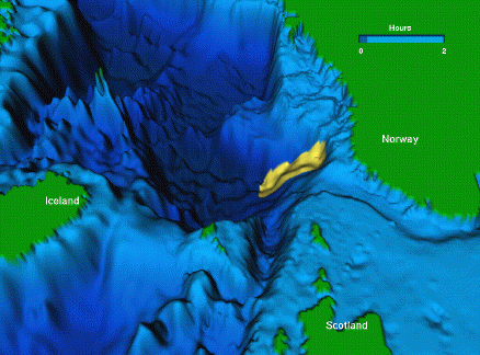 3D computer animation of the North Atlantic sea floor highlighting the area where the underwater Storegga landslide is thought to have occurred