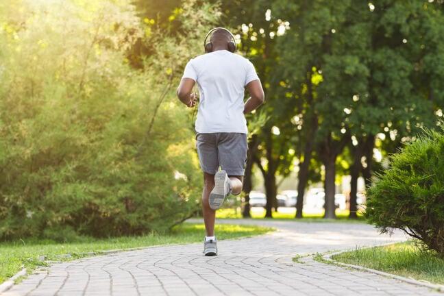 A man running in a park