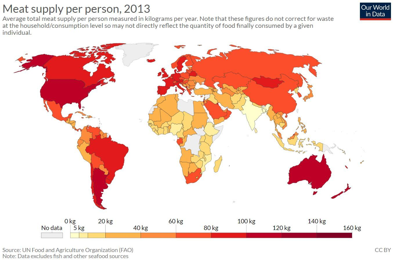 Map of the world showing consumption levels of meat. Highest consumption levels are found in USA, Argentina and Australia. Lowest levels are found in Africa, the Middle and Far East, and India