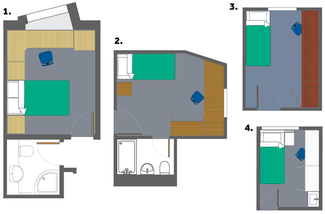 Floor plans of 4 different rooms. From left to right 1. A double bedroom with en-suite shower and a large desk that runs along the wall and corner. 2. A large single room with an en-suite and a large desk and wardrobe running against the wall. 3. A large single room with a desk and wardrobe. 4. A small single bed room with a sink in the corner and a desk and wardrobe running along the wall.