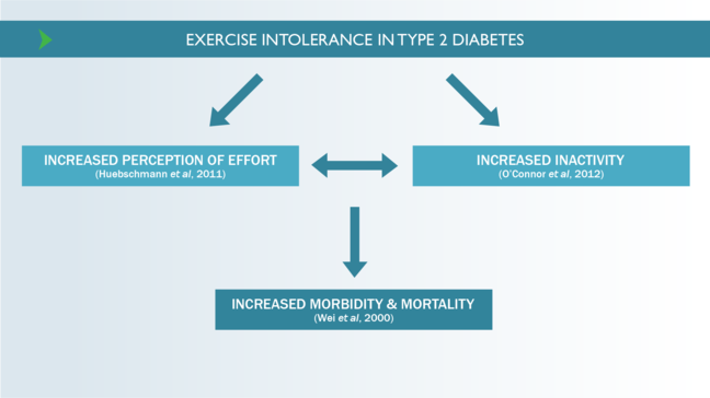 Chart showing how exercise intolerance in Type 2 diabetes is linked to increased morbidity and mortality