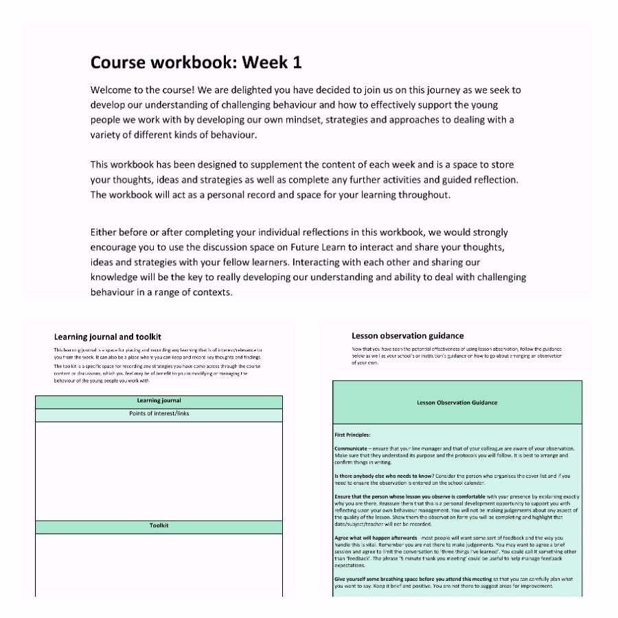 Course workbook screenshot
