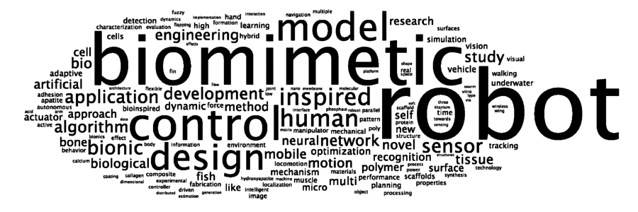 The word cloud shows the popularity of terms occurring in the titles of papers on biomimetic research. The word size is proportional to the frequency of word occurrence. The most popular words are 'biomimetic', 'robot', 'control', 'model' and 'design'.