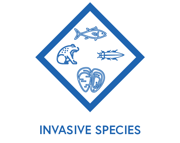 Symbol to show invasive species, pests and plants