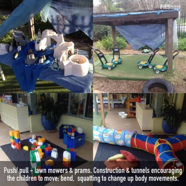 outdoor activities and tunnels at an early childcare centre