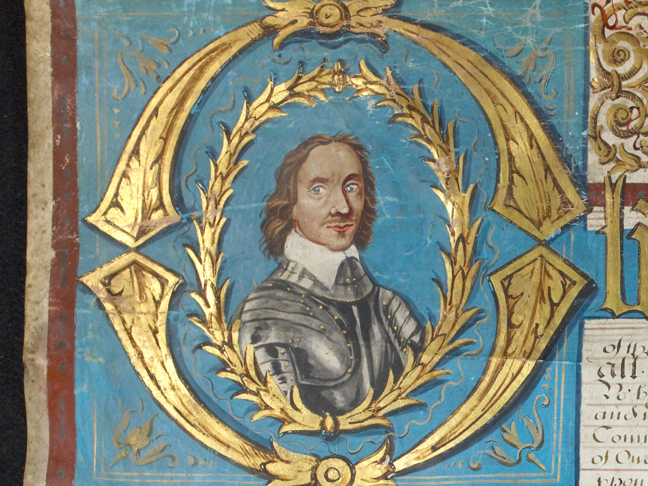 Painting showing the portrait of Oliver Cromwell as shown in the College Charter