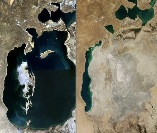 A aerial shot comparison of the Aral Sea in 1989 and 2014 highlighting how the sea has dried and shrunk.