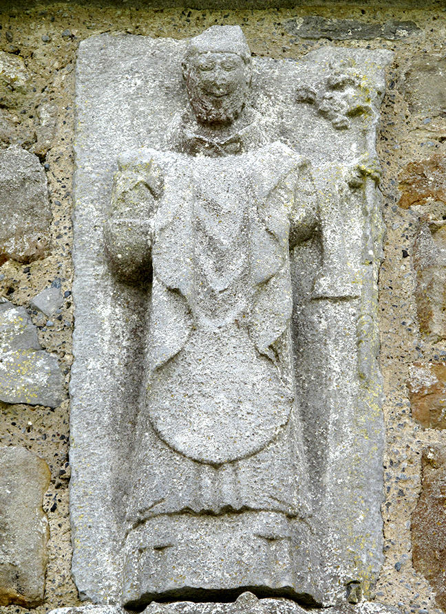 fig 1, a stone sculpture of St. Patrick in Clonmacnoise cathedral