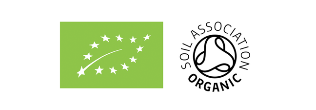 the EU Organic logo is a green rectangle with a leaf in the middle outlined by white stars. The soil association logo is black and white with a triangle shape within a circle and written around the symbol in a circle is Soil Association Organic