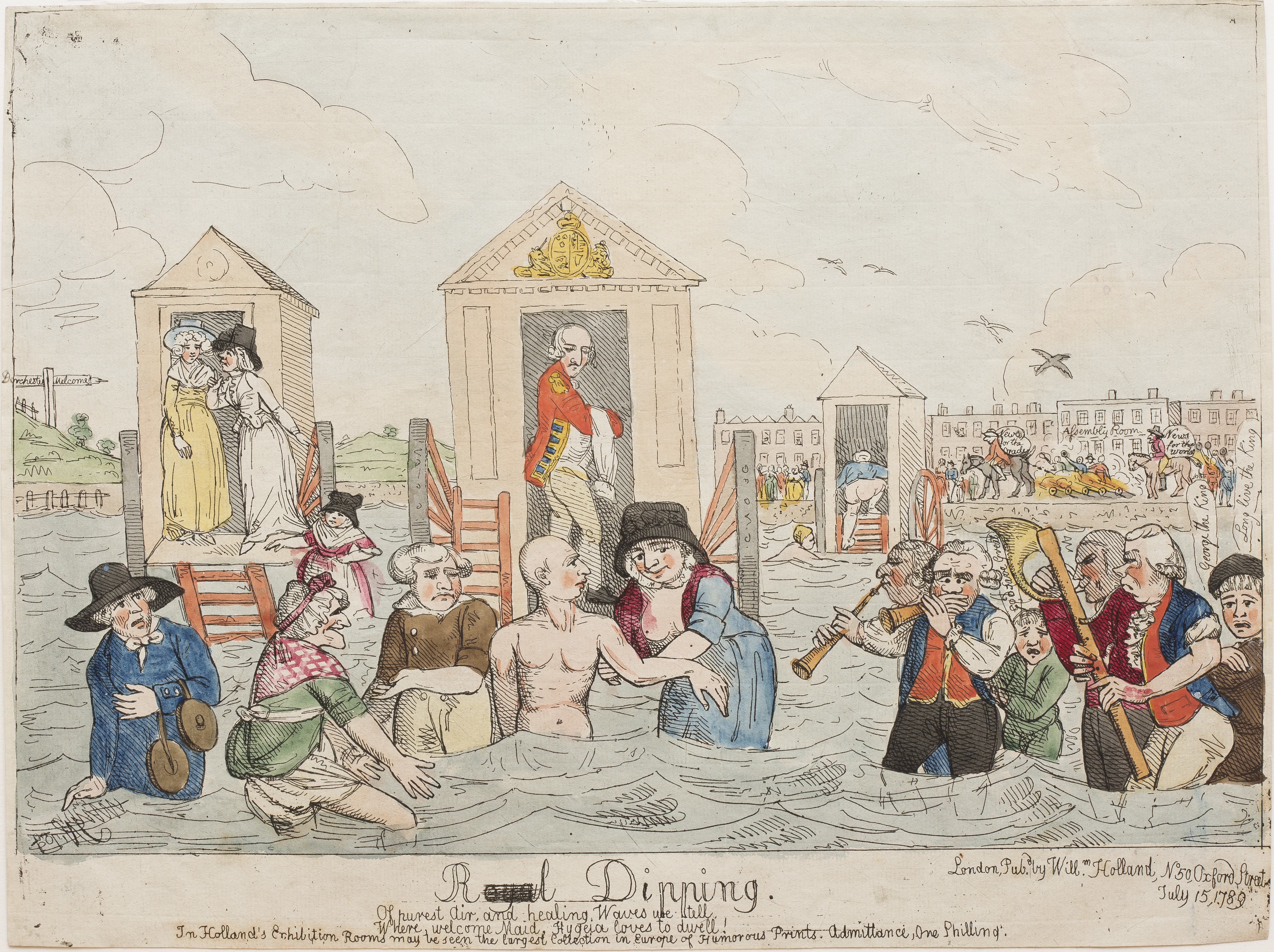 A coloured print of King George standing in water with people around him