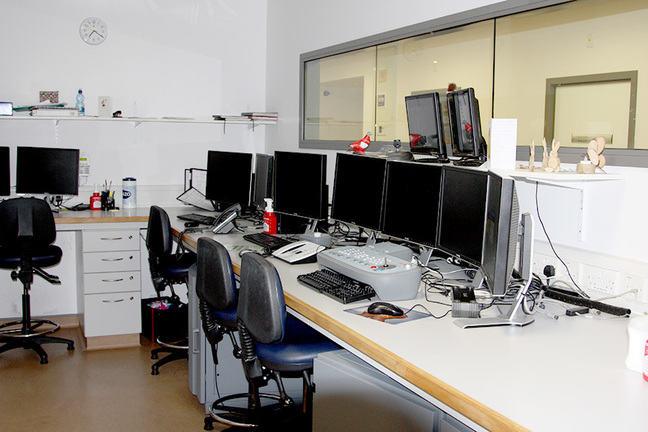 Linear accelerator control room