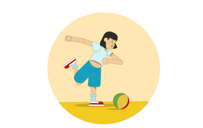 Illustration of a young girl with Down syndrome. She is playing football
