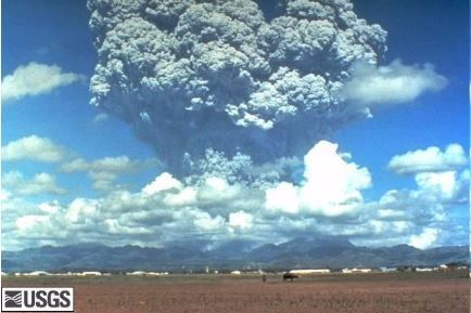 A photograph of the eruption of Mount Pinatubo in 1991 taken from the ground