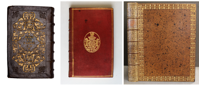 From left to right: An early sixteenth-century Italian gold-tooled cover on Julius Caesar, *Commentariorum de bello Gallico* (Venice, 1519); an early eighteenth-century French gold-tooled cover on Grattius, *Poëtae tres egregij* (Venice, 1534); an early eighteenth-century Irish gold-tooled cover and spine from the Worth bindery on Johann Christian Buxbaum, *Plantarum minus cognitarum centuria I complectens : plantas circa Byzantium & in Oriente observatas* (St. Petersburg, 1728). © The Trustees of the Edward  Worth Library, Dublin.