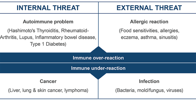 Figure depicting cases where the immune system malfunctions. In autoimmune diseases, the immune system overreacts to an internal threat, while in allergic reactions, the immune system overreacts to an external threat. In cancer, the immune system underreacts to an internal threat, while in immune deficiency, the immune system underreacts to an external threat. The patient becomes more susceptible to infections from otherwise innocuous microbes.