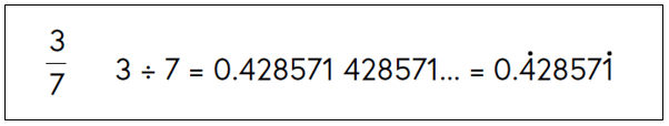 Three sevenths expressed as 0.428571 recurring (dots over four and one, the first and last recurring digits)