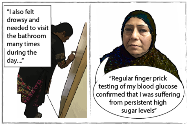 Comic strip of Seema feeling drowsy and going to toilet a lot and confirming suffering from persistent high sugar