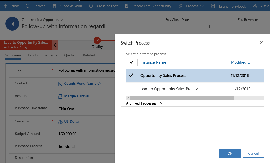 Screenshot of switching processes.