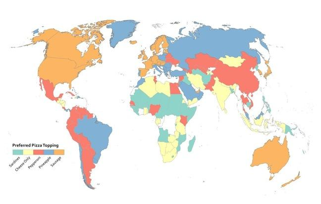 map using categorical color scheme to show preferred pizza toppings per country