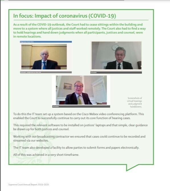 A screen capture from the UKSC Annual Report, with three pictures of screen captures from video hearings for the Supreme Court during 2020