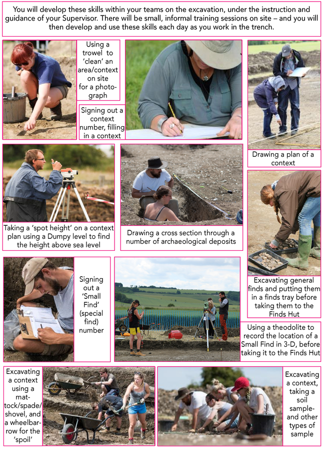 You will develop these skills within your teams on the excavation, under the instruction and guidance of your Supervisor. There will be small, informal training sessions on site – and you will then develop and use these skills each day as you work in the trench: - Using a trowel to 'clean' an area and identify a context - Signing out a context number and filling in a context card - Drawing a plan of a context - Taking a 'spot height' on a context plan using a Dumpy level to find the height above sea level - Drawing a cross section through a number of archaeological deposits - Excavating general finds and putting them in a finds tray before taking them to the Finds Hut - Signing out a 'Small Find' (special find) number - Using a theodolite to record the location of a Small Find in 3 dimensions, before taking it to the Finds Hut - Excavating a context using a mattock/spade/shovel, and a wheelbarrow for the 'spoil' - Excavating a context using a trowel, and taking a soil sample