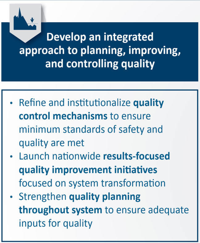 Develop an integrated approach to planning, improving, and controlling quality