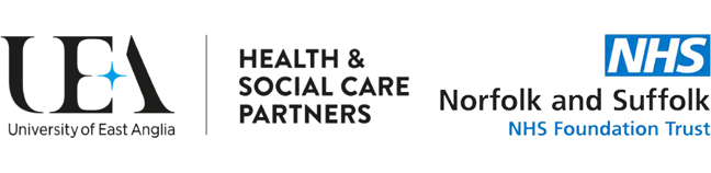 UEA Health and Social Care Partners and Norfolk and Suffolk NHS logo
