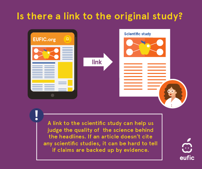 Is there a link to the original study? A link to the scientific study can help us judge the quality of the science behind. A link to the scientific study can help us judge the quality of the science behind the headlines. If an article doesn't cite any scientific studies, it can be hard to tell if claims are backed up by evidence.