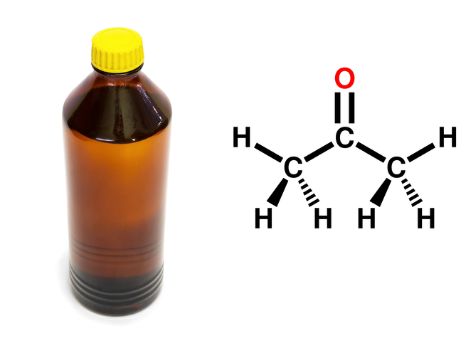 One type of organic solvent is acetone – here is the chemical formula and acetone in a bottle