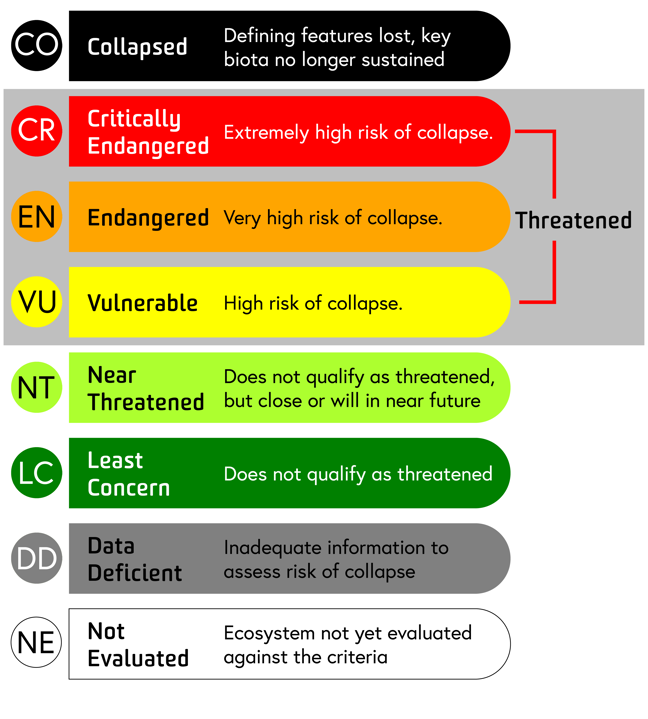 The Red List of Ecosystems risk categories - Click to download image