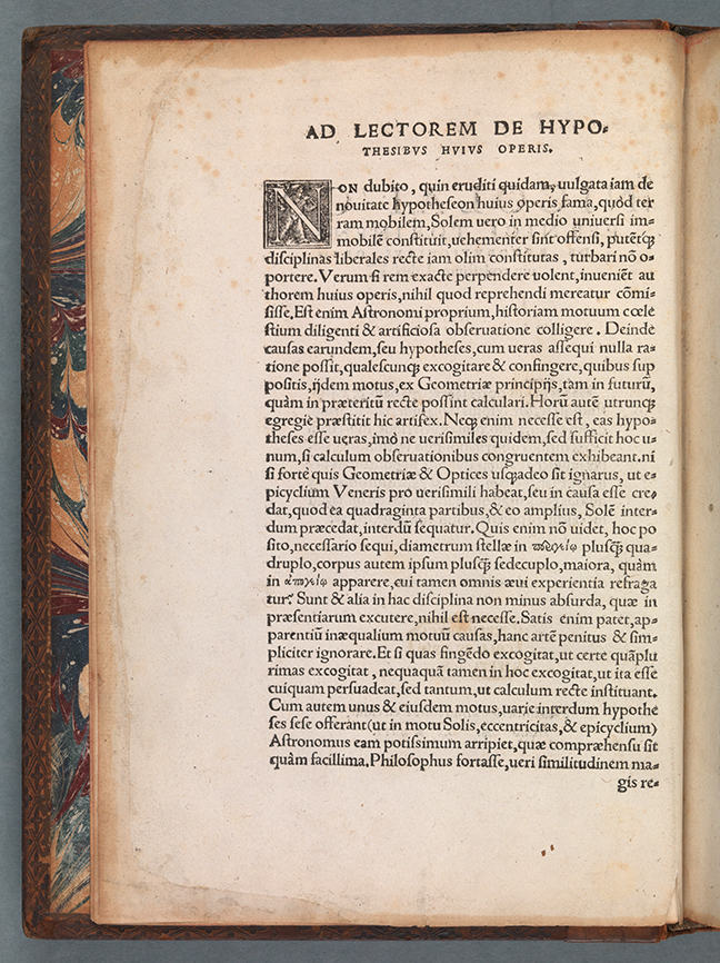 Andreas Osiander's letter to the reader in Nicolaus Copernicus, *De Revolutionibus Orbium Coelestis* (Nuremberg, 1543), Sig. i1r-v. © The Board of Trinity College Dublin.