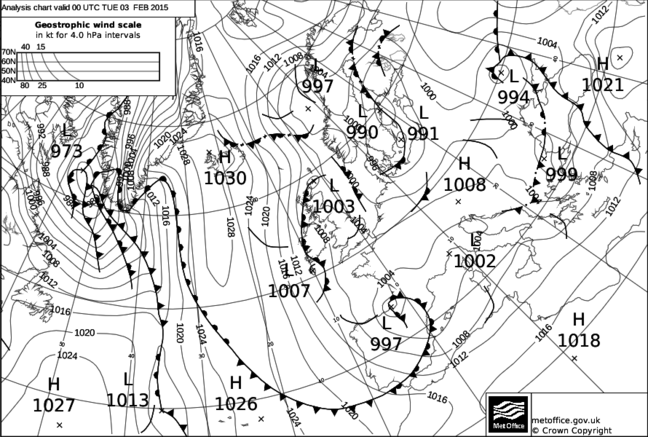 Black and white weather map from the end of January/Beginning of February 2015