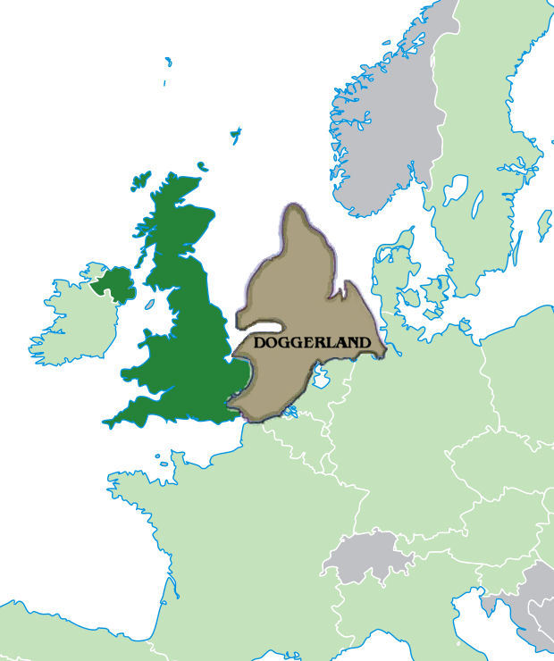 A map of modern day UK and Continental Europe with the area where Doggerland is thought to have been highlighted and labelled. Covering modern day Dover Straits and large areas of the North Sea.